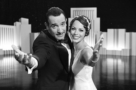 Jean Dujardin (left) and Brnice Bejo (right) star as George Valentin and Peppy Miller in &lt;em&gt;The Artist&lt;/em&gt;.