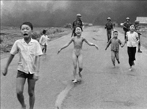 A 9-year-old Kim Phúc (center) after her village was napalm bombed during the Vietnam War (the photographer drove her to the hospital and continued to visit her).
