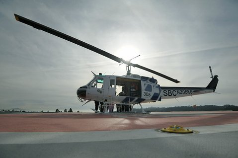 Helicopter testing at Cottage Hospital's new landing pad.