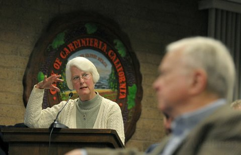 Former Carpinteria Mayor Donna Jordan speaks about many concerns with oil production in the area.