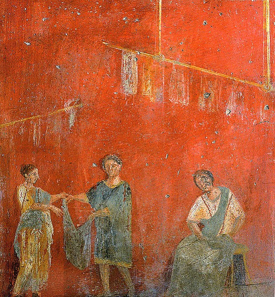 Dry cleaning establishment in ancient Pompeii: <em>Fullonica</em> of Veranius Hysaeus, where ammonia (from urine) and fuller's earth were used to launder woolen togas.
