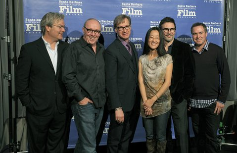 SBIFF 2012 Directors Panel L to R Gore Verbinski, Terry George, Paul Feig, Jennifer Yuh Nelson, Michel Hazanavicius and Chris Miller at the Lobero Theatre Feb. 4, 2012.