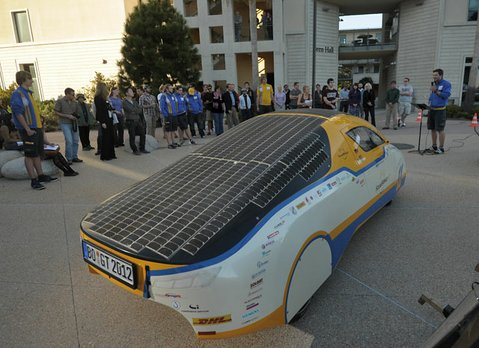 The SolarWorld Gran Turismo makes a stop at the Bren School at UCSB in its quest to break a Guinness World Record