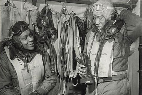 Army Air Corp pilots William A. Campbell (left) and Thurston L. Gaines Jr. in Ramitelli, Italy, in March 1945.