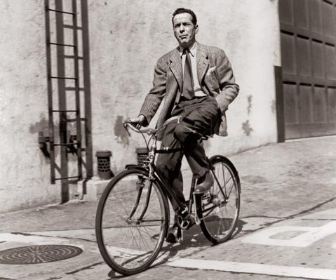 Humphrey Bogart on his bike.