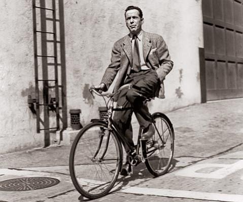 Humphrey Bogart on his bike.