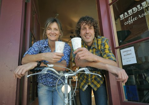 Handlebar Coffee Roasters owners Kim Anderson (left) and Aaron Olson Jan. 5, 2012