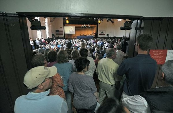 Several hundred people crowded into a meeting in Santa Ynez last August that was called by activists opposed to Chumash acquisition of another 1,400 acres.