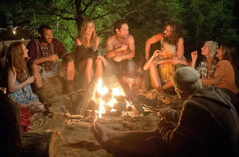 Jennifer Aniston and Paul Rudd (center) star in director David (<em>Wet Hot American Summer</em>) Wain's weird and wonderfully digressive commune comedy <em>Wanderlust</em>.