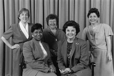 Year of the Woman: These five Democratic women were elected (re-elected, in the case of Mikulski) to the Senate in 1992,  joining in the Senate chamber Nancy Kasselbaum, a Republican elected in 1978. From left: Patty Murray, Carol Moseley Braun, Barbara Mikulski, Dianne Feinstein, and Barbara Boxer.