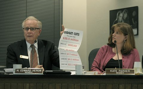 Ed Heron (left) at school board meeting (Feb. 28, 2012)