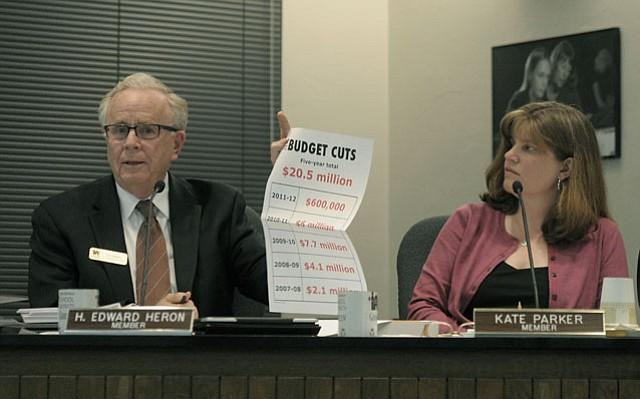 Ed Heron (left) at school board meeting (Feb. 28, 2012)