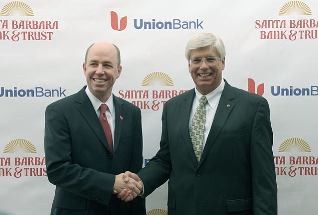 Tim Wennes, vice chairman of Union Bank (left) and George Leis, President and COO of Santa Barbara Bank & Trust
