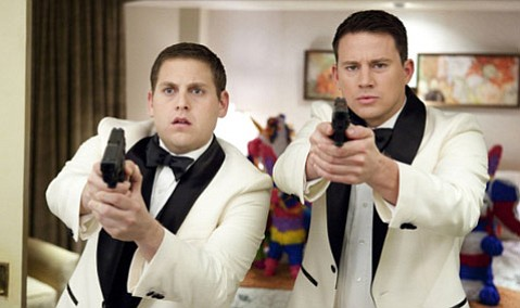 Jonah Hill (left) and Channing Tatum team up as rookie cops assigned undercover duty at a high school with a drug problem in the riotously funny revamp <em>21 Jump Street</em>.