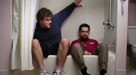 Jason Segel (left) stars as a stay-at-home son opposite Ed Helms as his seemingly more-together brother in the latest mumblecore entry from the Duplass bros, <em>Jeff, Who Lives at Home</em>.