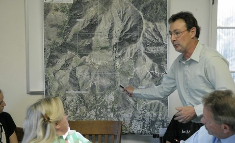 Michael Feeney presents the Hot Springs Canyon issue to the Montecito Water District board In February 2012.