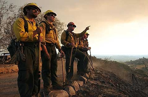 Los Padres National Forest Service firefighters watch the 2009 Jesusita Fire from Spyglass Ridge Lane