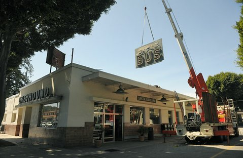 Santa Barbara's iconic Greyhound bus depot sign is dismantled