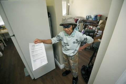 "<strong>SUDDEN LIMBO:</strong>  Agnes Bishop holds a 90-day eviction notice in her apartment at 203 Ladera Street. The owner's reason for evicting her, as stated on the form, is this: ""We no longer want to participate in the section 8 housing."""