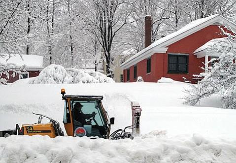 Snowfall in Hallowell, Maine.