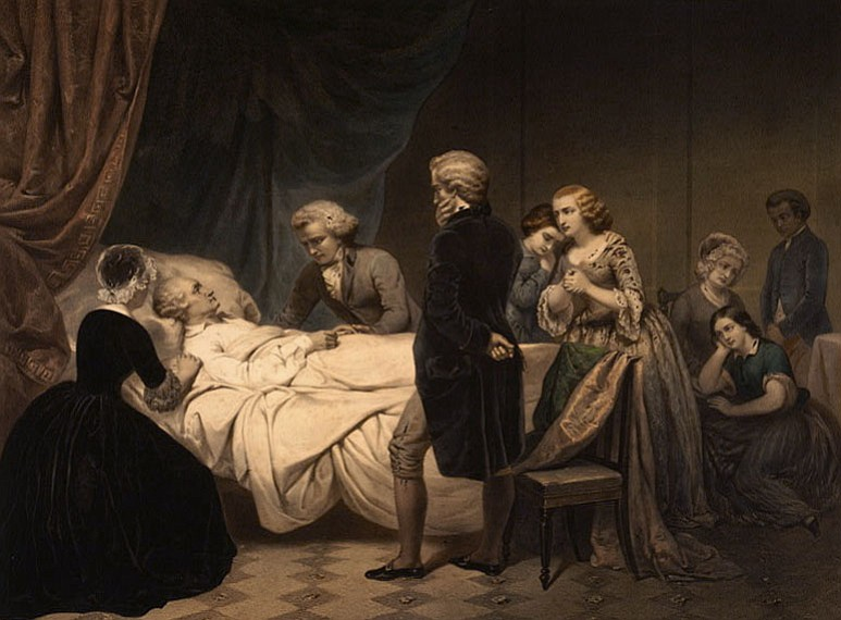 George Washington on his death bed attended by family and friends