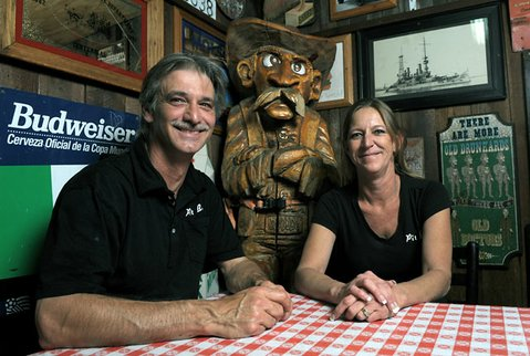 Woody&#39;s owners Gino and Kim Stabile.