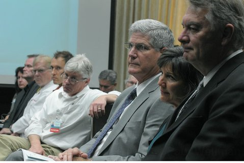 Cottage CEO Ronald Werft, center, flanked by hospital administrators at Tuesday's City Council meeting (April 24, 2012)