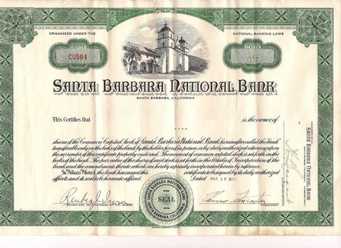 One of the original stock certificates features a rendering of the Old Mission.