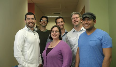Startup Weekend Organizers and the events first registrants pictured (L to R) Mike Lewis, Jim McGaw, Tara Armbruster, Ben Tucker, Kyle Ashby, and Jose Guevarra,