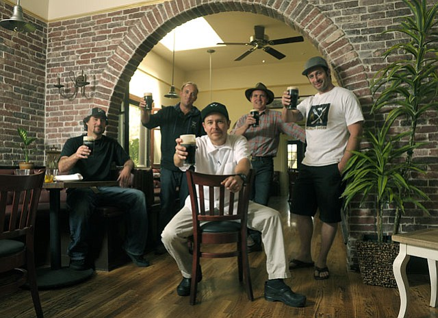 The Arlington Tavern crew: (left to right) Cody French, Trevor Zellet, Ron True, Skye McGinnes, and Diego Barbieri.