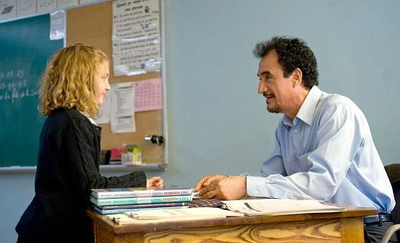 Mohamed Fellag (right) stars as a heroic teacher in <em>Monsieur Lazhar</em>.