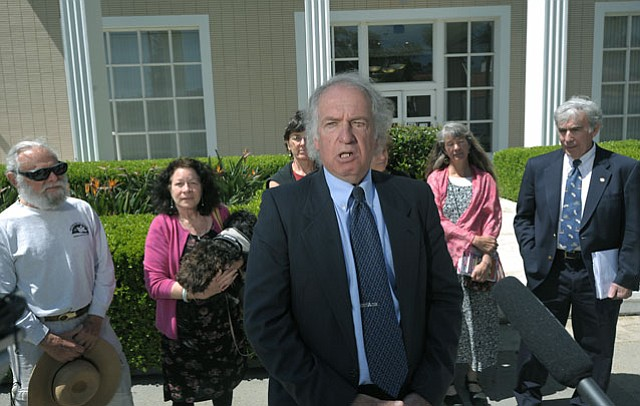 Vandenberg protesters, arrested for trespassing on the Air Force base during a February 25 missile test launch, hold a press conference after their arraignment in federal court (May, 17, 2012)