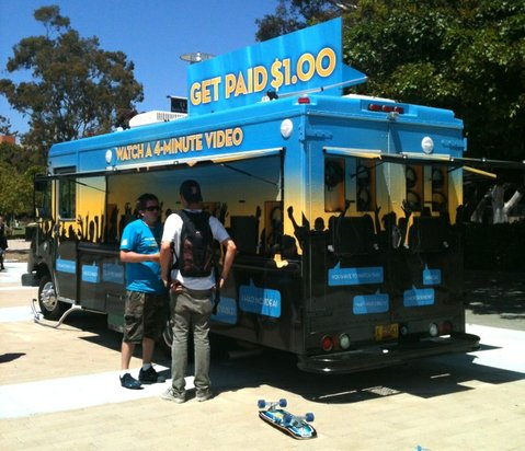 10 Billion Lives Tour van stops at UCSB last Thursday