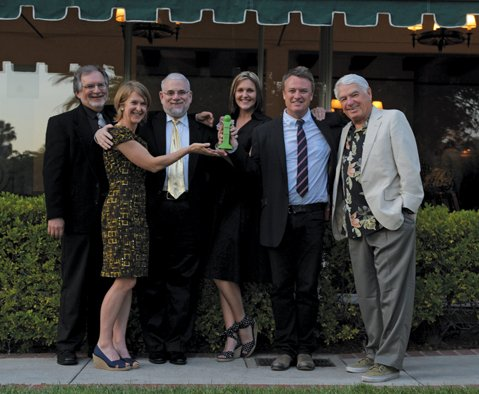 from left:  Judges Tom Jacobs, Elizabeth Schwyzer, Philip Brandes, Starshine Roshell, Charles Donelan, and Barney Brantingham