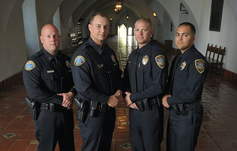 The 2012 H. Thomas Guerry Award for VALOR recipients (pictured L to R) Santa Barbara Police Dept. Detectives Jeff DeForest and Brian Miller and Lompoc Police Dept. Detectives Brian Guerra and Sergio Arias