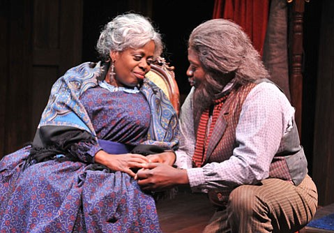 Lillias Whiteas Aunt Ester and Anthony J. Haney as Solly Two Kings in Rubicon Theatre's <em>Gem of the Ocean</em>.