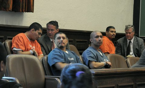 Seated left to right: Daniel Cervantes, Miguel Marquez, David Roldan, and Victor Arroyo in court on May 29, 2012