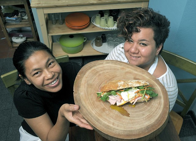 Blue Owl's Cindy Black (right) and Nui now serve breakfast and lunch on Canon Perdido Street in addition  to late-night State Street eats.