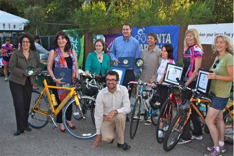 From left to right: Mayor Helene Schneider, Second District Supervisor Janet Wolf, Hillary Blackerby on behalf of Assembly member Das Williams, Jeremy Tittle on behalf of First District Salud Carbajal, Kent Epperson, Velo Wings Awardees (Carmen Lozano, Anne Chen, Kim Stanley-Zimmerman) & Ed France.