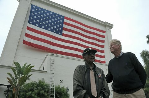 Paul Lamberton and WWII vet Eddie Cavallero at the Lobero Theatre on Flag Day (June 14, 2012)