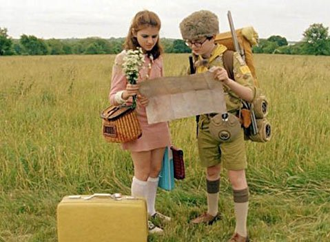 <strong>WES-WARD BOUND:</strong>  Kids Suzy (Kara Hayward) and Sam (Jared Gilman) fall in love in Wes Anderson's latest, <em>Moonrise Kingdom</em>.