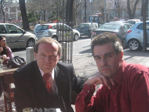 "Zoltan Dani, left, the Serbian who shot down the ""invisible"" F-117, with director Zeljko Mirkovik, in Belgrade discussing a documentary about Dani's meeting with the American pilot."