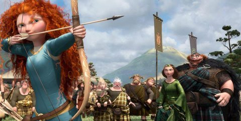 Sporting bow, arrow, and a mean mane of flowing red locks, Merida (voice of Kelly Macdonald) heralds a new wave of Disney princess in Pixar's latest, <em>Brave</em>.
