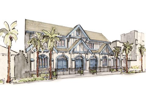 "Architectural rendering of the ""New Vic."""