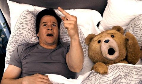 Seth (<em>Family Guy</em>) MacFarlane's big-screen debut, <em>Ted</em>, features Mark Wahlberg opposite a bad-mannered teddy bear, along with lowbrow humor and pop-culture references aplenty.