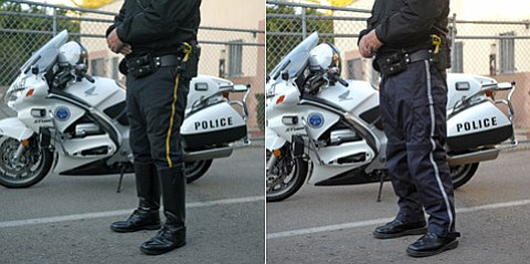 Sergeant Mike McGrew models traditional motorcyle breech pants (left), and the new padded, Kevlar-reinforced alternative (right).