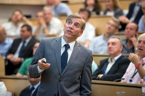 Joe Incandela delivers his historic presentation to the seminar at CERN on July 4.