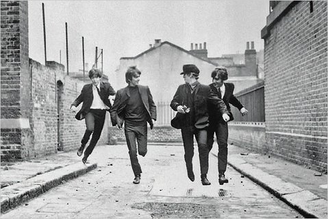 The Beatles make a run for it in <em>A Hard Day's Night</em>.