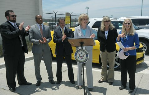 Third from left to right: Aaron Medina, Hertz Division Vice President, Congresswoman Lois Capps, Cally Houck, and Rosemary Shahan