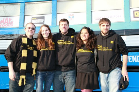 From left to right: Christopher Simon, Amy Wallace, Steven Hascher, Amy Chin, & Robert Gelb in front of Stanley the Bus.